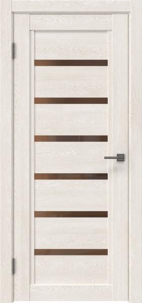 Межкомнатная дверь RM015 (экошпон «белый дуб» / стекло бронзовое)