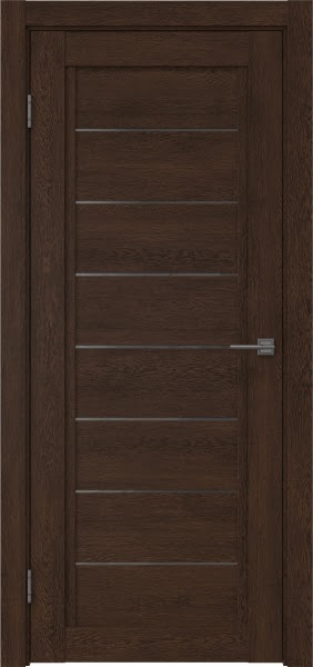 Межкомнатная дверь RM016 (экошпон «дуб шоколад» / стекло графит)