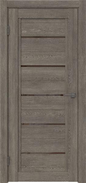 Межкомнатная дверь RM017 (экошпон «серый дуб» / лакобель коричневый)