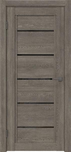 Межкомнатная дверь RM017 (экошпон «серый дуб» / лакобель черный)