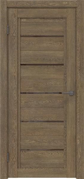 Межкомнатная дверь RM017 (экошпон «дуб антик» / лакобель коричневый)