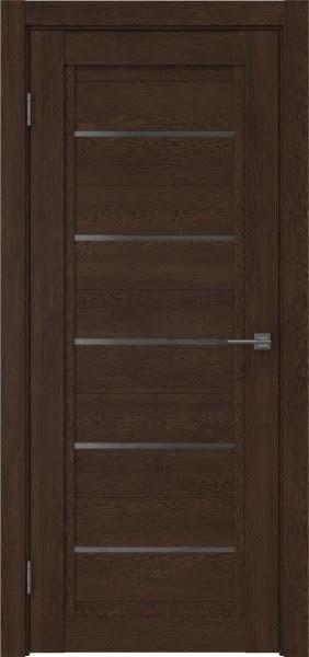 Межкомнатная дверь RM017 (экошпон «дуб шоколад» / стекло графит)