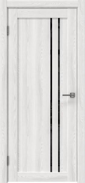 Межкомнатная дверь RM023 (экошпон «ясень айс» / лакобель черный)