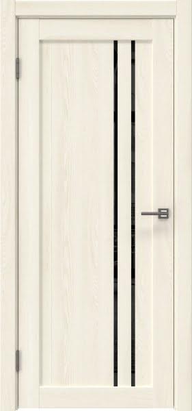 Межкомнатная дверь RM023 (экошпон «ясень крем» / лакобель черный)