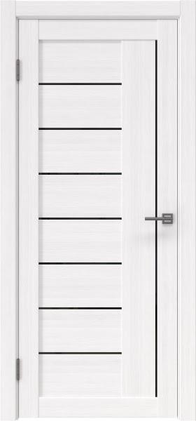 Межкомнатная дверь RM025 (экошпон «белый FL», лакобель черный)