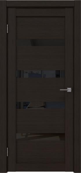 Межкомнатная дверь RM027 (экошпон «венге FL», лакобель черный)