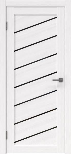 Межкомнатная дверь RM029 (экошпон «белый FL», лакобель черный)