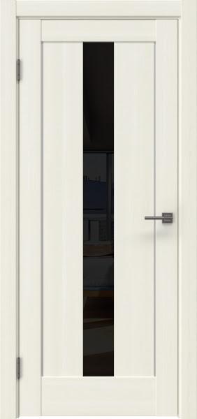 Межкомнатная дверь RM043 (экошпон «сандал белый» / лакобель черный)