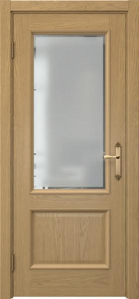 Межкомнатная дверь SK002 (натуральный шпон дуба / стекло с фацетом)