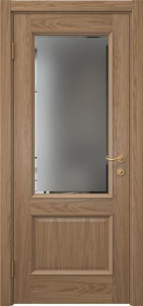 Межкомнатная дверь SK002 (шпон дуб светлый / стекло с фацетом)
