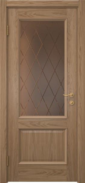 Межкомнатная дверь SK002 (шпон дуб светлый / сатинат бронзовый ромб)
