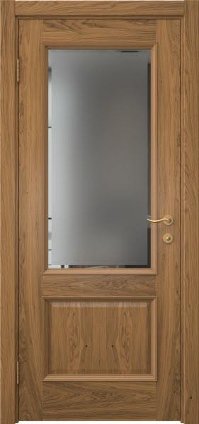 Межкомнатная дверь SK002 (шпон дуб античный с патиной / стекло с фацетом)