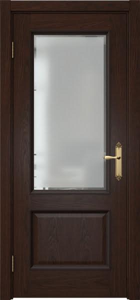 Межкомнатная дверь SK002 (шпон дуб коньяк / стекло с фацетом)