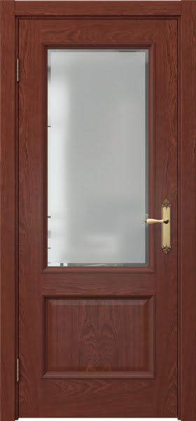 Межкомнатная дверь SK002 (шпон красное дерево / стекло с фацетом)