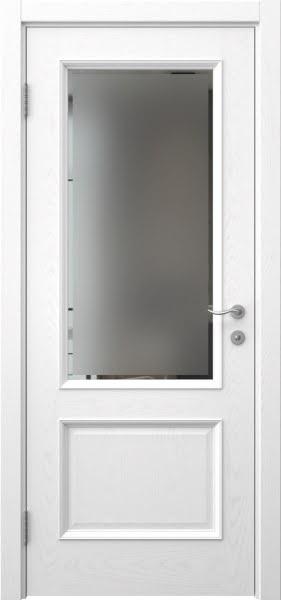 Межкомнатная дверь SK002 (шпон ясень белый / стекло рамка)