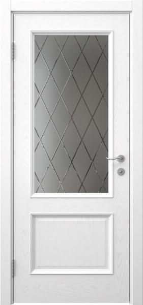 Межкомнатная дверь SK002 (шпон ясень белый / сатинат ромб)