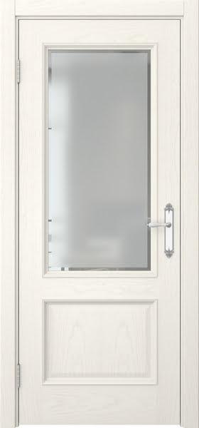 Межкомнатная дверь SK002 (шпон ясень слоновая кость / стекло рамка)