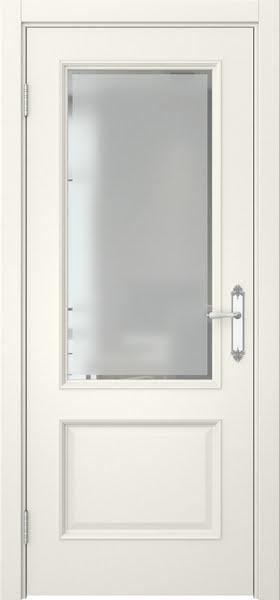 Межкомнатная дверь SK002 (эмаль слоновая кость / стекло с фацетом)
