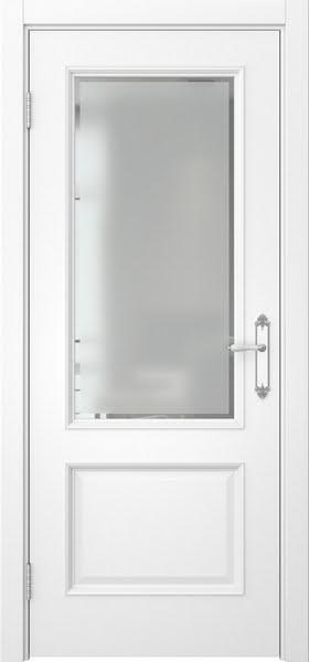 Межкомнатная дверь SK002 (эмаль белая / стекло с фацетом)