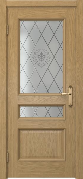 Межкомнатная дверь SK003 (натуральный шпон дуба / стекло с гравировкой)