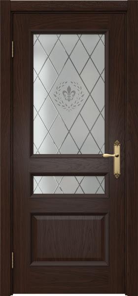 Межкомнатная дверь SK003 (шпон дуб коньяк / стекло с гравировкой)