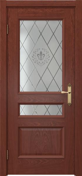 Межкомнатная дверь SK003 (шпон красное дерево / стекло с гравировкой)