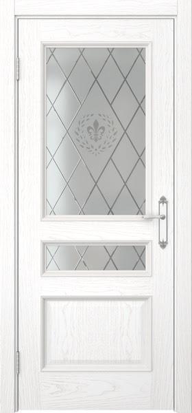 Межкомнатная дверь SK003 (шпон ясень белый / стекло с гравировкой)