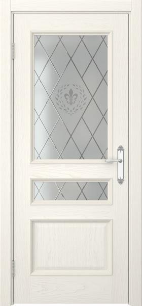 Межкомнатная дверь SK003 (шпон ясень слоновая кость / стекло с гравировкой)