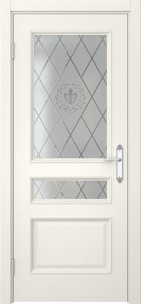 Межкомнатная дверь SK003 (эмаль слоновая кость / стекло с гравировкой)