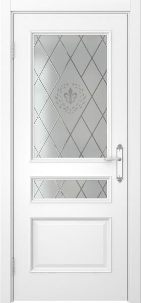 Межкомнатная дверь SK003 (белая эмаль / стекло с гравировкой)