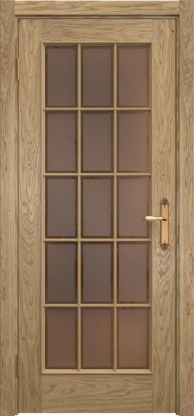 Межкомнатная дверь SK005 (натуральный шпон дуба / стекло бронзовое рамка)