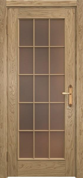 Межкомнатная дверь SK005 (натуральный шпон дуба / стекло бронзовое)