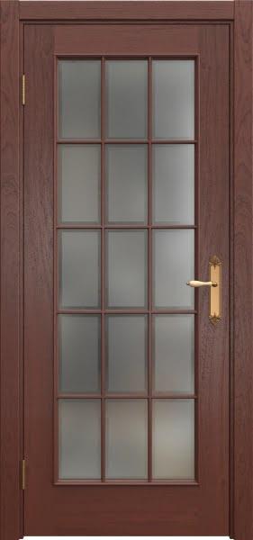 Межкомнатная дверь SK005 (шпон красное дерево / стекло рамка)