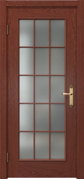 Межкомнатная дверь SK005 (шпон красное дерево / матовое стекло)