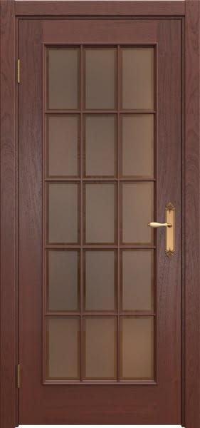 Межкомнатная дверь SK005 (шпон красное дерево / стекло бронзовое рамка)