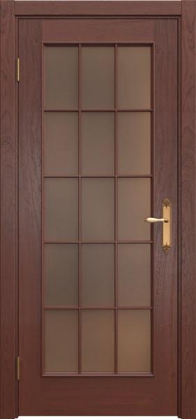 Межкомнатная дверь SK005 (шпон красное дерево / стекло бронзовое)