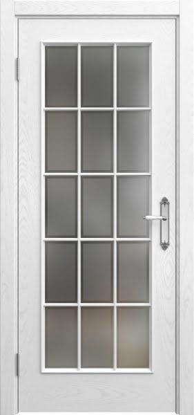 Межкомнатная дверь SK005 (шпон ясень белый / стекло рамка)