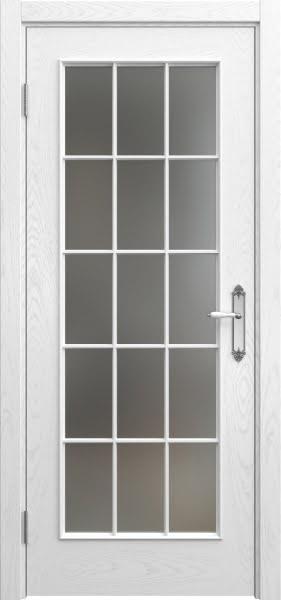 Межкомнатная дверь SK005 (шпон ясень белый / матовое стекло)