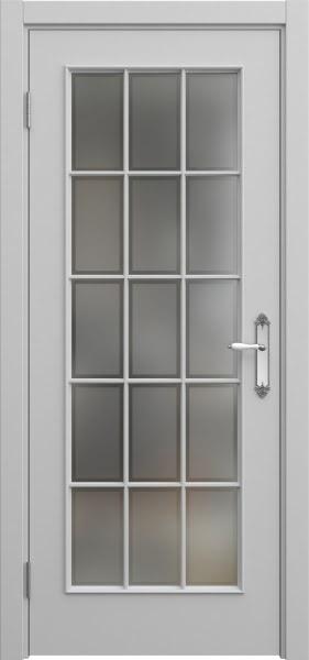 Межкомнатная дверь SK005 (эмаль серая / стекло рамка)