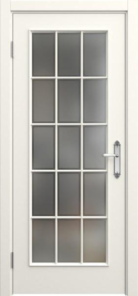 Межкомнатная дверь SK005 (эмаль слоновая кость / стекло рамка)