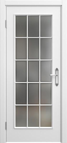 Межкомнатная дверь SK005 (эмаль белая / стекло рамка)