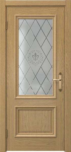 Межкомнатная дверь SK006 (натуральный шпон дуба / стекло с гравировкой)