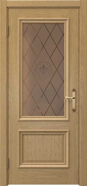 Межкомнатная дверь SK006 (натуральный шпон дуба / стекло бронзовое с гравировкой)