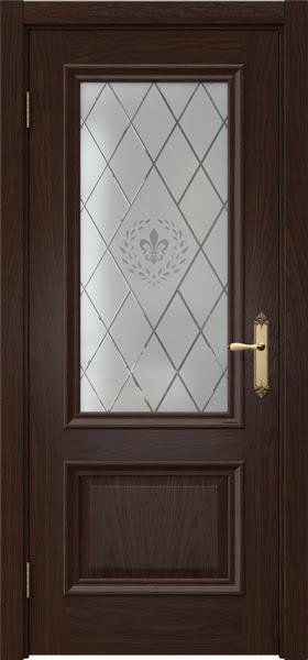 Межкомнатная дверь SK006 (шпон дуб коньяк / стекло с гравировкой)