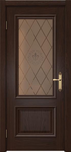 Межкомнатная дверь SK006 (шпон дуб коньяк / стекло бронзовое с гравировкой)