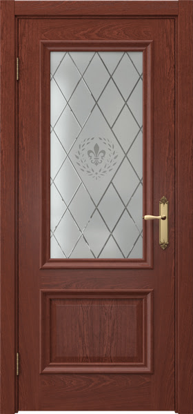 Межкомнатная дверь SK006 (шпон красное дерево / стекло с гравировкой)