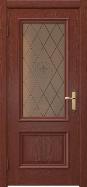 Межкомнатная дверь SK006 (шпон красное дерево / стекло бронзовое с гравировкой)