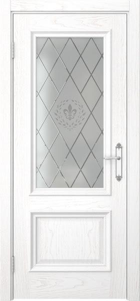 Межкомнатная дверь SK006 (шпон ясень белый / стекло с гравировкой)