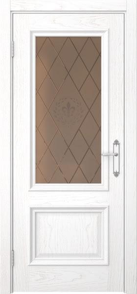 Межкомнатная дверь SK006 (шпон ясень белый / стекло бронзовое с гравировкой)