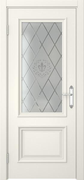 Межкомнатная дверь SK006 (эмаль слоновая кость / стекло с гравировкой)
